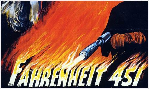 Detalle del cartel de la pelicula Fahrenheit 451.