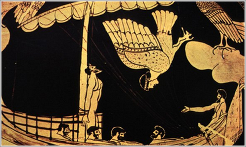 Ulises atado al mástil de su barco para no sucumbir al canto de las sirenas.