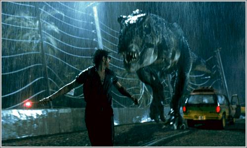 Escena de Parque Jurásico, la pelicula.