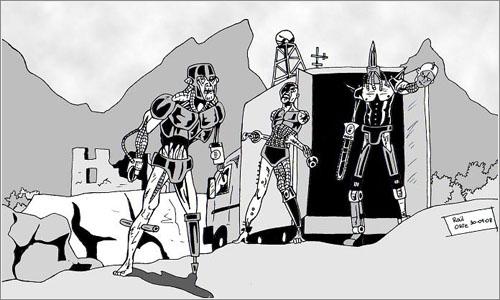 Versión 3.0 de infectadocop, uno de los dibujos que aparecen en el libro, obra del ilustrador Sombra.