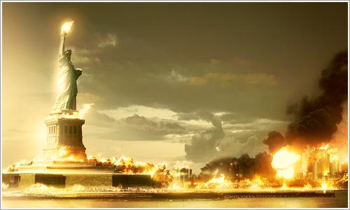 Recreación de explosión atómica en Nueva York